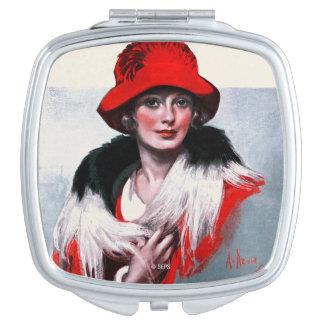 Femme dans Red Hat Miroir De Poche