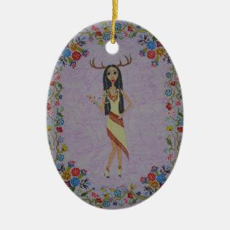 Femme de cerfs communs (série de mode de conte de ornement ovale en céramique