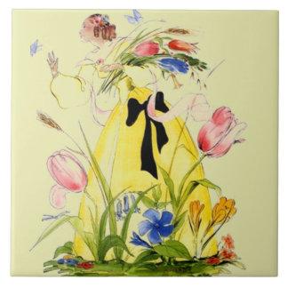 Femme de chasse vintage de jardin de papillon de grand carreau carré