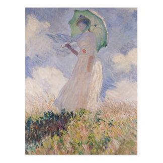 Femme de Claude Monet   avec le parasol tourné Cartes Postales