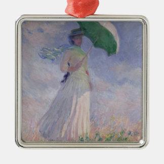 Femme de Claude Monet | avec un parasol tourné à Ornement Carré Argenté