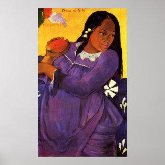 Femme de Gauguin avec une affiche de mangue