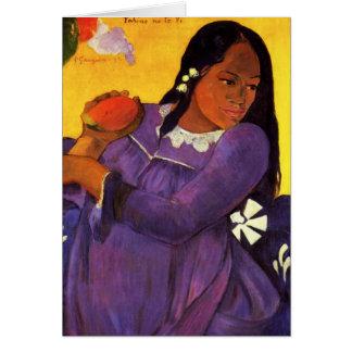 Femme de Gauguin avec une carte de voeux de mangue