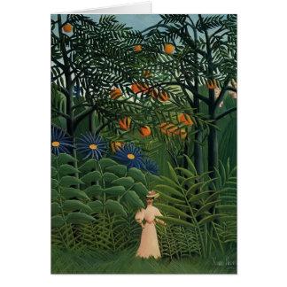Femme de Henri Rousseau- marchant dans une forêt Carte De Vœux