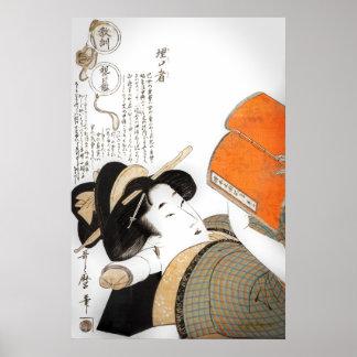 Femme de lecture par Utamaro Posters