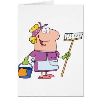 Femme de ménage de bande dessinée carte de vœux