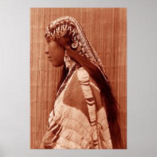 Femme de Natif américain Affiche
