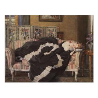 Femme de sommeil de Konstantin Somov- A Carte Postale