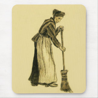 Femme de Van Gogh avec des beaux-arts de balai Tapis De Souris
