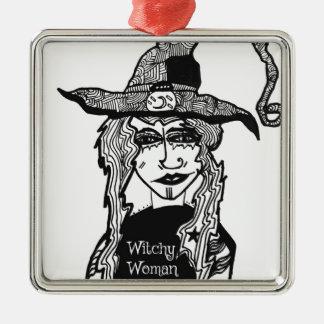 Femme de Witchy Ornement Carré Argenté