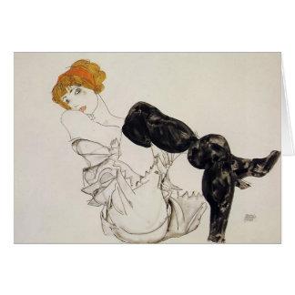 Femme d'Egon Schiele- dans les bas noirs Carte De Vœux