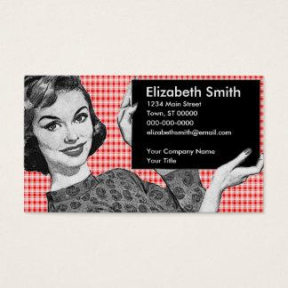 femme des années 1950 avec un signe V2 Cartes De Visite