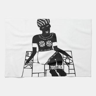Femme, dessin africain serviettes pour les mains