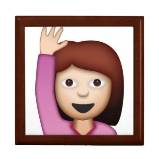 Femme disant le bonjour - Emoji Grande Boîte À Bijoux Carrée