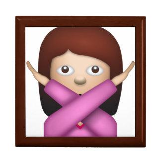 Femme disant NO- Emoji Grande Boîte À Bijoux Carrée
