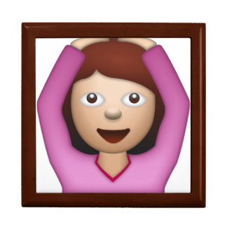 Femme disant oui - Emoji Grande Boîte À Bijoux Carrée