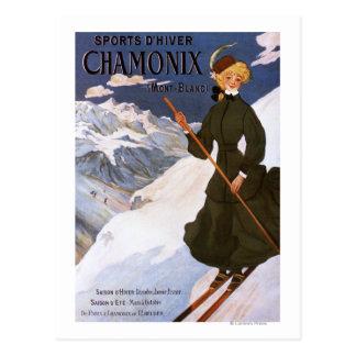 Femme en affiche verte de ski carte postale