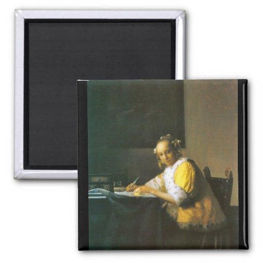 Femme en jaune par Johannes Vermeer Aimant Pour Réfrigérateur