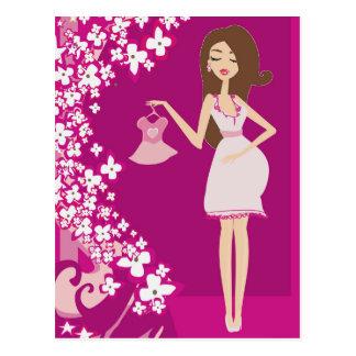 femme enceinte de brune carte postale