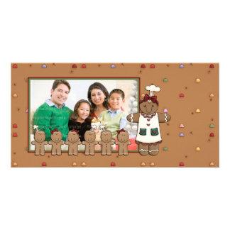 Femme et enfants de pain d'épice cartes de vœux avec photo