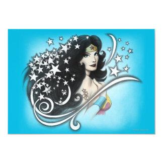 Femme et étoiles de merveille carton d'invitation  12,7 cm x 17,78 cm