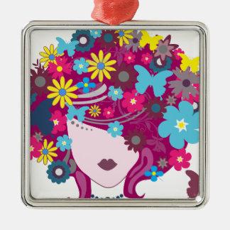 Femme florale de cheveux de papillon ornement carré argenté