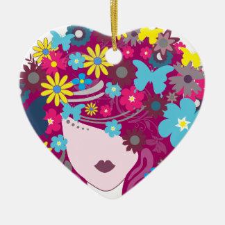 Femme florale de cheveux de papillon ornement cœur en céramique
