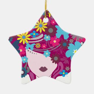 Femme florale de cheveux de papillon ornement étoile en céramique