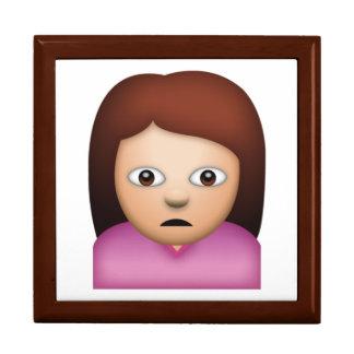 Femme fronçant les sourcils - Emoji Grande Boîte À Bijoux Carrée
