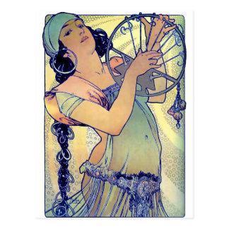 femme gitane de musique de danse de tambour de carte postale