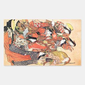 Femme japonaise traditionnelle orientale fraîche autocollants en rectangle