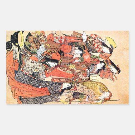Femme japonaise traditionnelle orientale fraîche autocollant rectangulaire