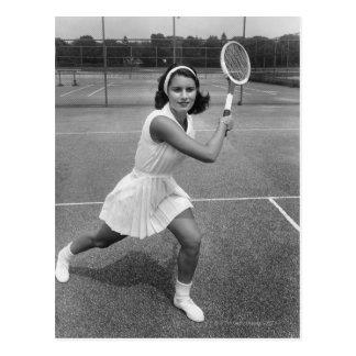 Femme jouant au tennis cartes postales