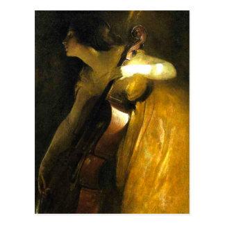 Femme jouant le violoncelle cartes postales