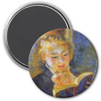 Femme lisant Auguste Renoir Magnet Rond 7,50 Cm