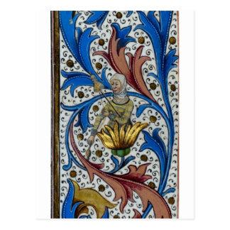 Femme médiévale tournant avec l'axe et la carte postale