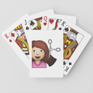 Femme obtenant la coupe de cheveux - Emoji Jeux De Cartes