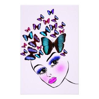 Femme papillon papier à lettre personnalisé