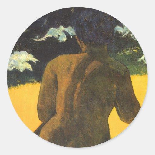 Femme par la mer, Gauguin, impressionisme vintage Adhésifs Ronds