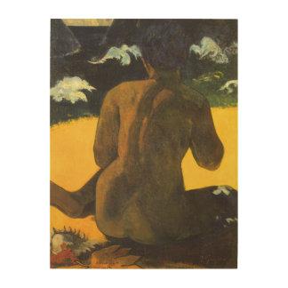 Femme par la mer par Paul Gauguin, beaux-arts Impression Sur Bois