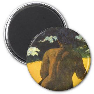 Femme par la mer par Paul Gauguin, beaux-arts Magnet Rond 8 Cm
