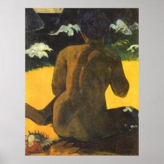 Femme par la mer par Paul Gauguin, beaux-arts Posters