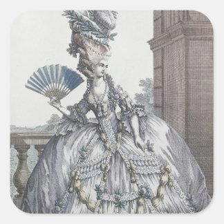 Femme portant une robe élégante avec ses cheveux stickers carrés