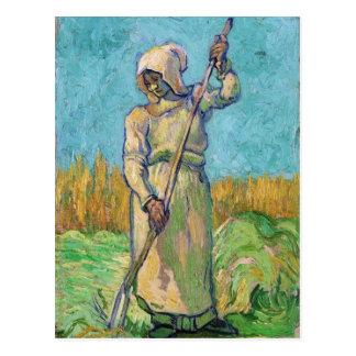 Femme rurale avec le râteau, beaux-arts de Vincent Carte Postale
