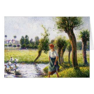 Femme rurale de Camille Pissarro- observant les Carte De Vœux