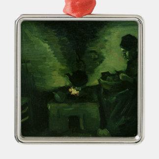 Femme rurale de Vincent van Gogh | par le foyer Ornement Carré Argenté