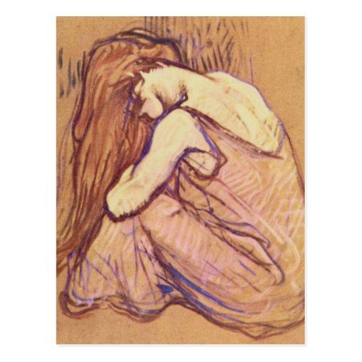 Femme se peignant les cheveux par Henri De Toulous Cartes Postales