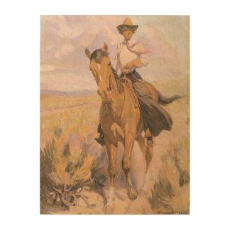 Femme sur le cheval par Dunton cowboy vintage de Canevas En Bois