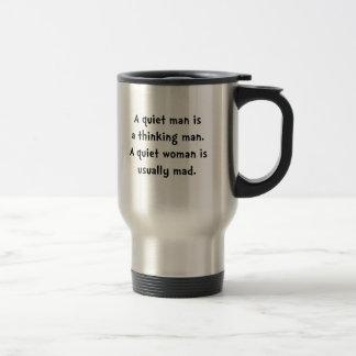 Femme tranquille folle mug de voyage en acier inoxydable