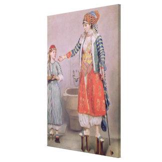 Femme turque avec son employé toiles tendues